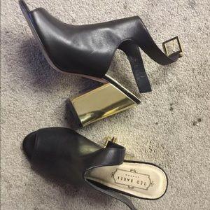 Ted Baker London Gold Block Heel Ankle Booties